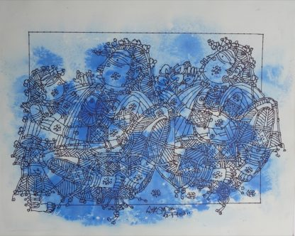 Ladies with Child - In Blue by G Raman