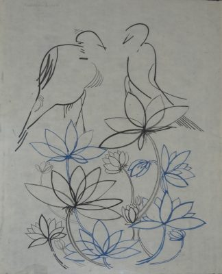 Birds and Blue Lotus by Premalatha Seshadri