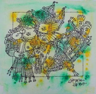 Ganesha playing mathalam by G Raman
